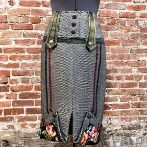 Anthropologie Hazel Wool skirt w Buttons and Denim